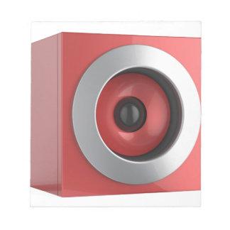 Roter Lautsprecher Notizblock