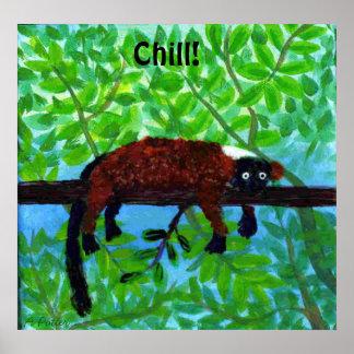 Roter Lemur-Tierplakat-Schauer! Poster