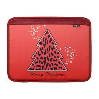 Roter Leopard-Gepard-Weihnachtsbaum Sleeve Fürs MacBook Air
