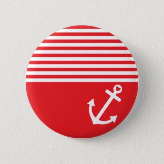 Roter Liebe-Anker nautisch Runder Button 5,7 Cm