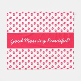 Roter Lippenkuss-guter Morgen schön Fleecedecke