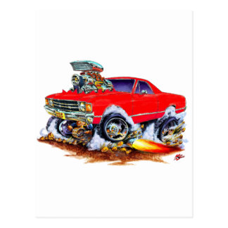 Roter LKW 1971-72 EL Camino Monster-4x4 Postkarte