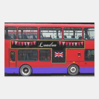 Roter London-Bus-Doppeldecker Rechteckiger Aufkleber