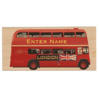 Roter London-Bus themenorientiert Holz USB Stick