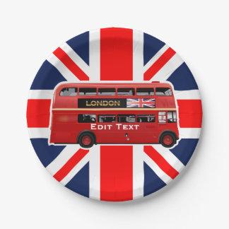 Roter London-Doppeldecker-Bus Pappteller
