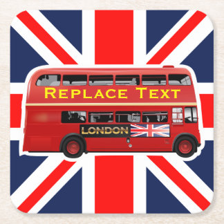 Roter London-Doppeldecker-Bus Rechteckiger Pappuntersetzer