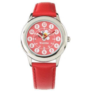 Roter Marienkäfer der Mädchen, weiße Handuhr
