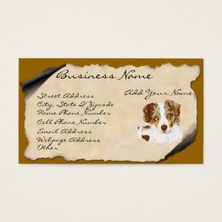 Roter Merle australischer Schäfer auf Pergament Visitenkarte