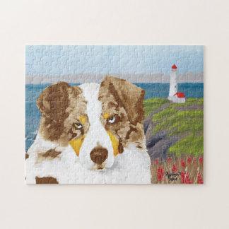 Roter Merle australischer Schäfer-Hund, Leuchtturm Puzzle