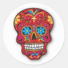 Roter mexikanischer Zuckerschädel-Tag der Toten Runder Aufkleber