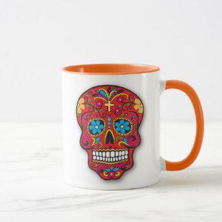 Roter mexikanischer Zuckerschädel-Tag der Toten Tasse