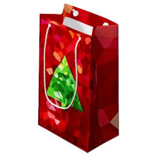 Roter moderner Buntglas-Feiertags-Weihnachtsbaum Kleine Geschenktüte