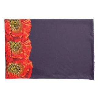 Roter Mohnblumen-Blumen-Rand u. dunkle Marine Kissenbezug