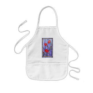 Roter Mohnblumen-Buntglas-Blick Kinderschürze