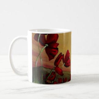 Roter Mohnblumen-Feld-Entwurf Tee Tasse
