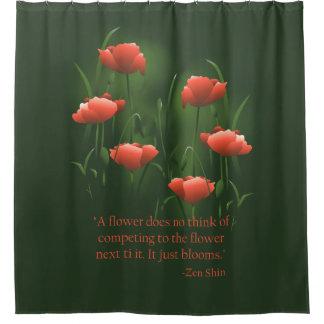 Roter Mohnblumen-Zen-Zitat-Mohnblumen-Duschvorhang Duschvorhang