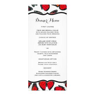 Roter Monarchfalter-dünnes Abendessen-Menü Werbekarte