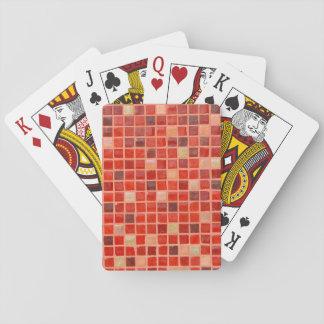 Roter Mosaik-Fliesen-Hintergrund Spielkarten