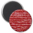 Roter Musiknoten Runder Magnet 5,1 Cm