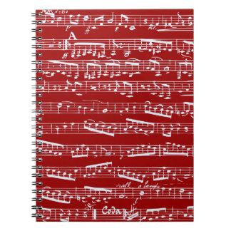 Roter Musiknoten Spiral Notizbücher
