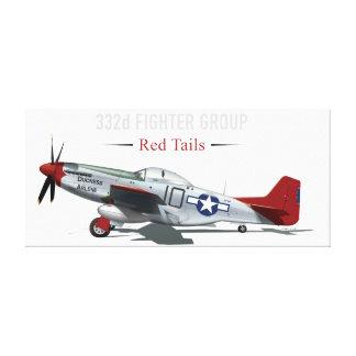 Roter Mustang des Schwanz-P-51 der Tuskegee Leinwanddruck