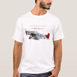 Roter Mustang des Schwanz-P-51 der Tuskegee T-Shirt
