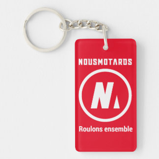 """Roter Nousmotards-Schlüsselbund """"Roulons zusammen"""" Schlüsselanhänger"""