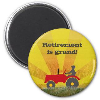 Roter oder grüner Traktor-Ruhestands-Magnet Runder Magnet 5,7 Cm