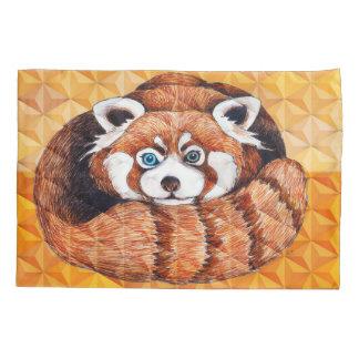 Roter Panda auf orange Kubismus Geomeric Kissen Bezug