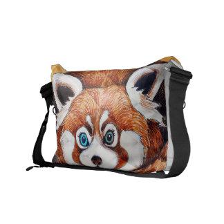 Roter Panda auf orange Kubismus Geomeric Kurier Taschen