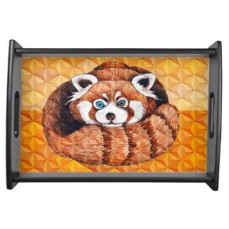 Roter Panda auf orange Kubismus Geomeric Serviertablett
