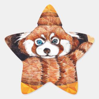 Roter Panda betreffen orange Kubismus Stern-Aufkleber