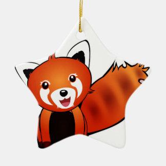 Roter Panda Keramik Stern-Ornament