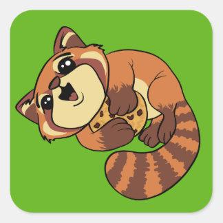 Roter Panda! Quadratischer Aufkleber