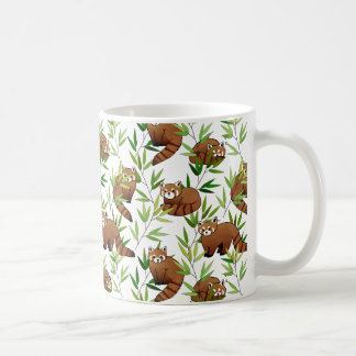 Roter Panda-u. Bambus-Blätter-Muster Kaffeetasse