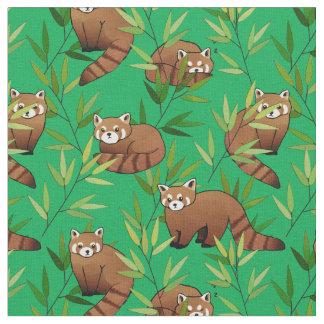Roter Panda-u. Bambus-Blätter-Muster Stoff