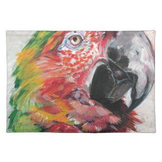 Roter Papagei Stofftischset