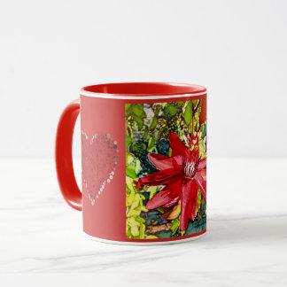 Roter Passionflower-Blumevalentine-hübsche Tasse