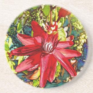 Roter Passionflower-Blumevalentine-Untersetzer Sandstein Untersetzer