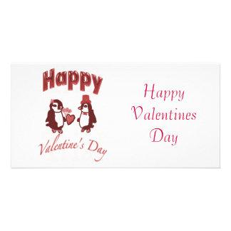 Roter Penguin-glücklicher Valentinstag Foto Karten Vorlage
