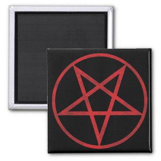 Roter Pentagram Quadratischer Magnet