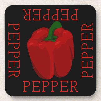 Roter Pfeffer-Quadrat Getränkeuntersetzer