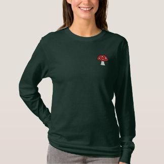 Roter Pilz gestickter langer Hülsen-T - Shirt