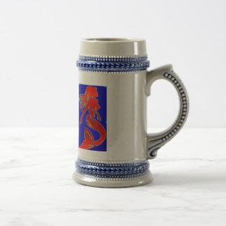 roter Pinupart-Meerjungfrau Stein Bierglas