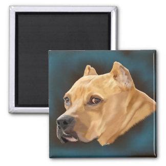 Roter Pitbull Terrier Hund Quadratischer Magnet
