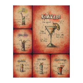 Roter Plakat-Druck der Cocktail-II Holzleinwand