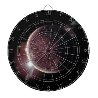 roter Planet im Universum mit Aura und Sternen Dartscheibe