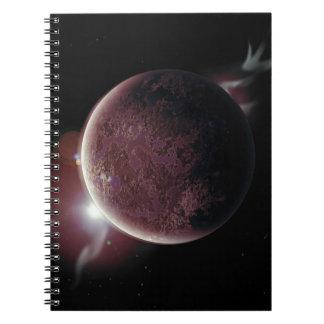 roter Planet im Universum mit Aura und Sternen Notizblock