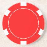Roter Poker-Chip-Sandstein-Untersetzer