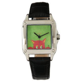Roter Pussy mit einer Biene Armbanduhr
